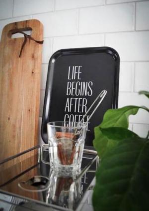 "Bricka ""Life begins after coffee"" (27x20cm)"
