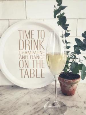 """Bricka """"Time to drink champagne"""" (rund 31cm)"""